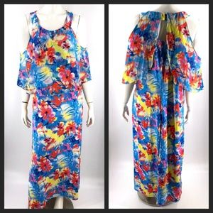 NY Collection Dress Plus 1X Maxi Floral Blue Pink